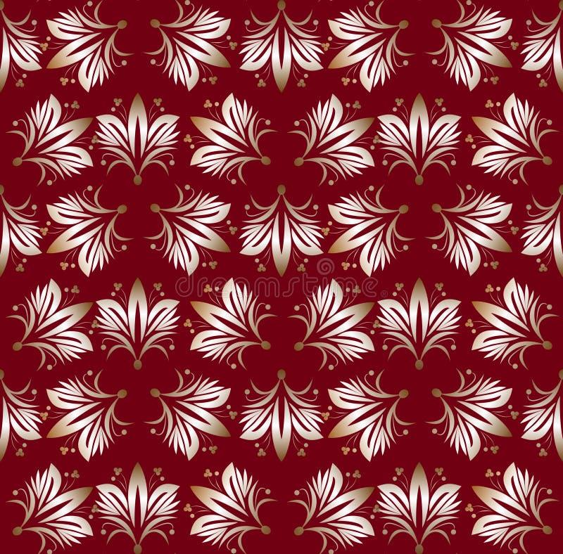 Modèles sans couture de vintage sur le fond rouge foncé Ornement fin de brocard Modèles de papier luxueux de textile ou d'envelop illustration stock