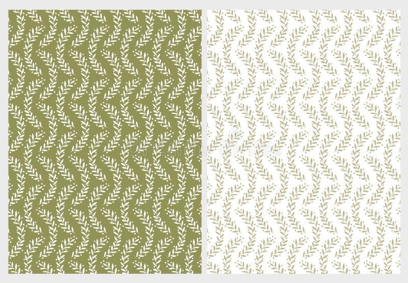 Modèles sans couture floraux de vecteur de résumé Conception verte et blanche illustration stock
