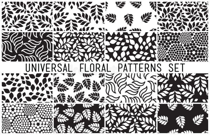 Modèles sans couture floraux universels réglés illustration de vecteur