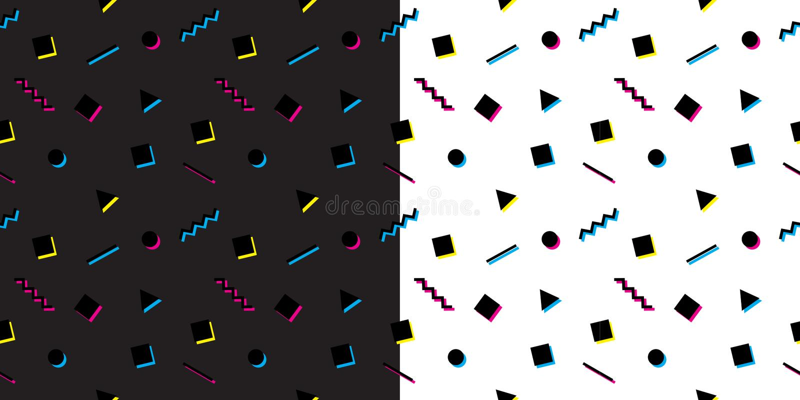 Modèles sans couture géométriques abstraits de Memphis Textures colorées de vecteur réglées illustration stock