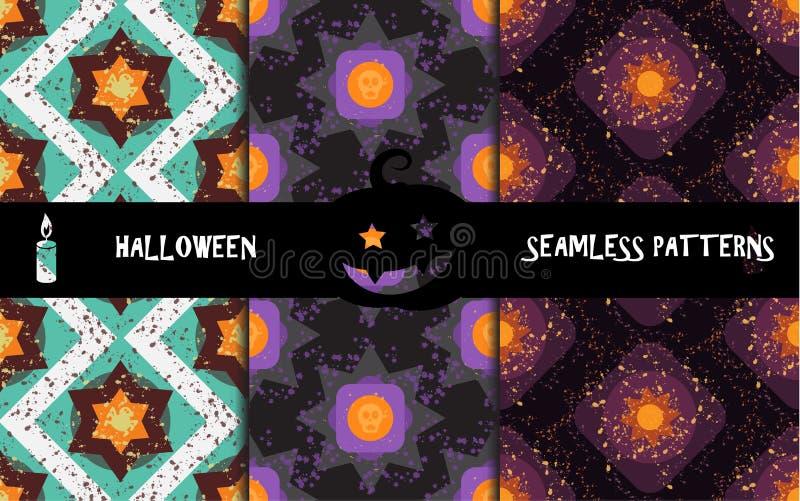 Modèles sans couture géométriques colorés grunges de Halloween illustration libre de droits