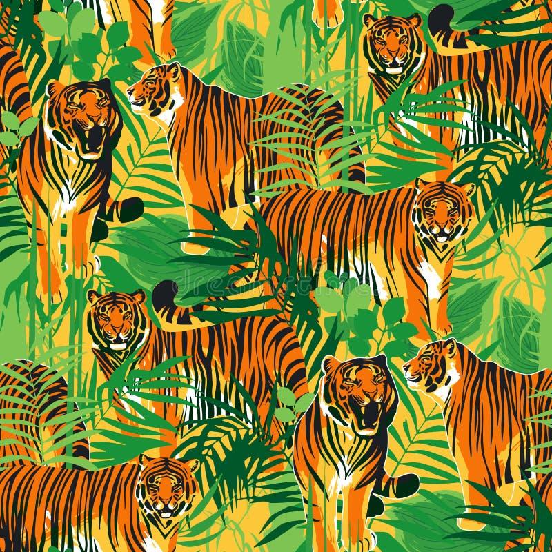 Modèles sans couture graphiques des tigres dans différentes poses entourés par les feuilles exotiques illustration libre de droits