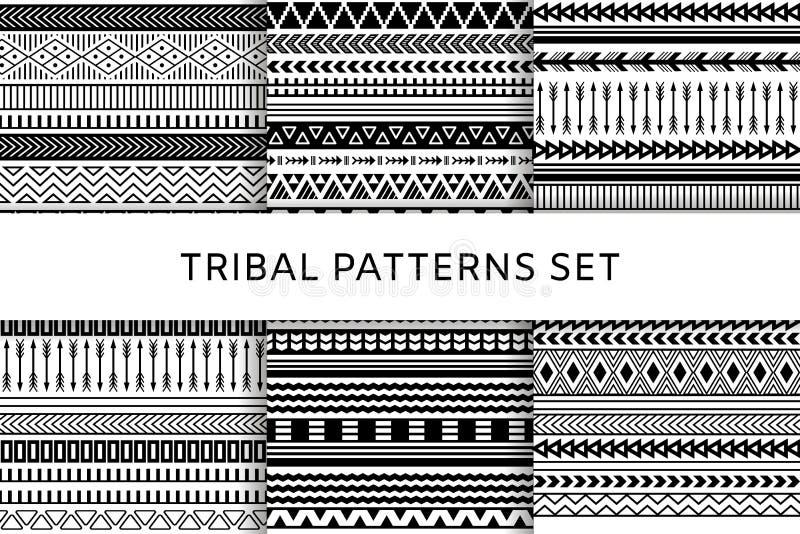 Modèles sans couture indiens tribals de boho ethnique réglés illustration de vecteur