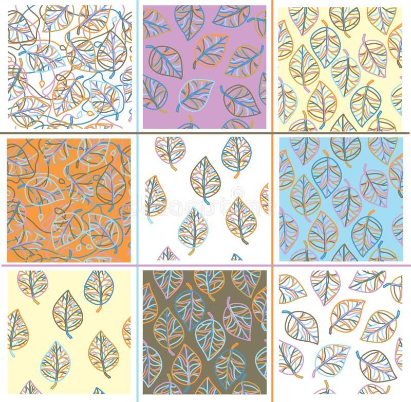 Modèles sans couture réglés de feuilles de vecteur illustration libre de droits