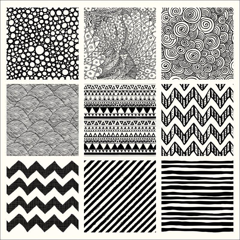 Modèles sans couture tirés par la main abstraits de fond illustration stock