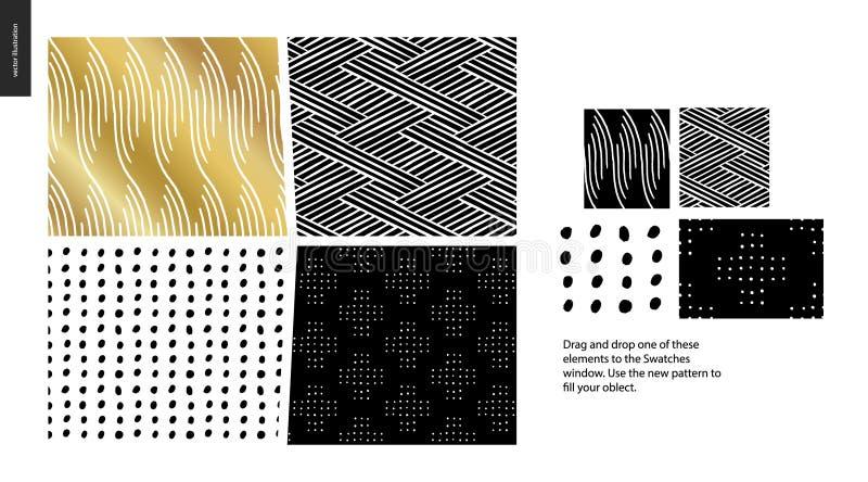 Modèles tirés par la main - morceaux illustration stock