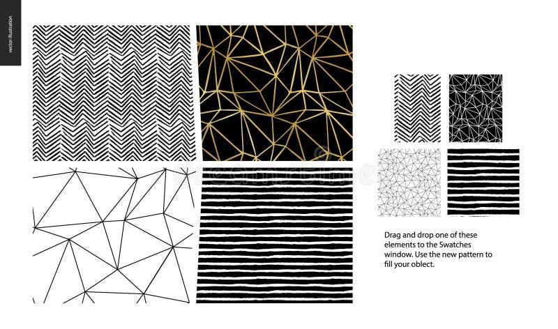 Modèles tirés par la main - morceaux illustration libre de droits