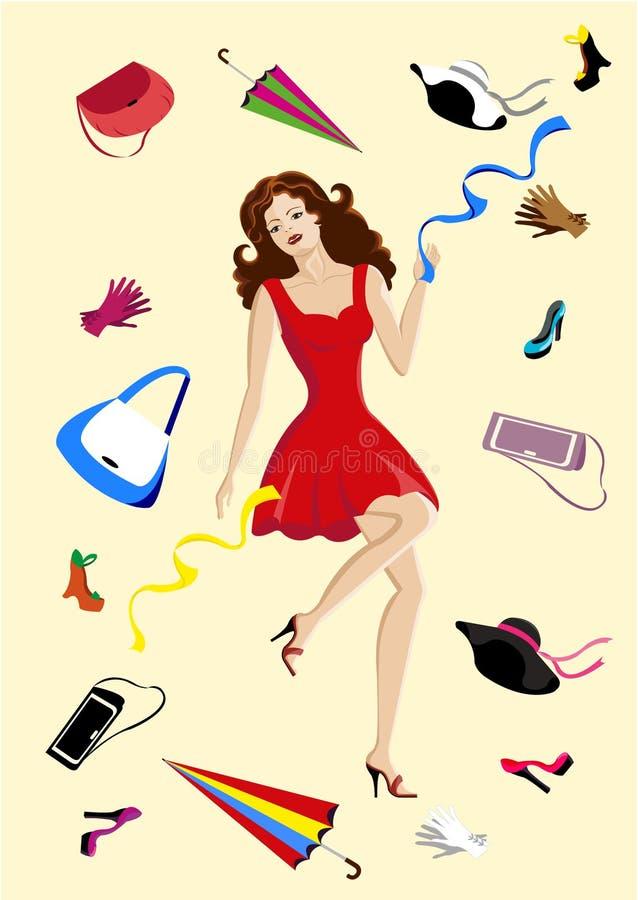 Mod akcesoria. Piękna kobieta jest robić zakupy ilustracji