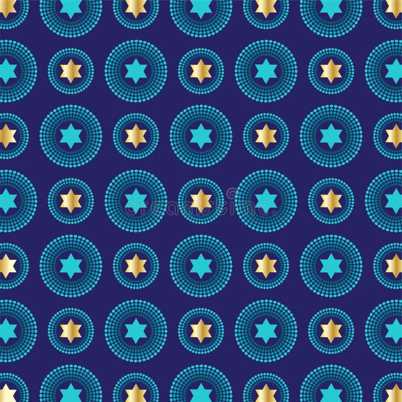 Mod blue gold jewish star background pattern stock illustration