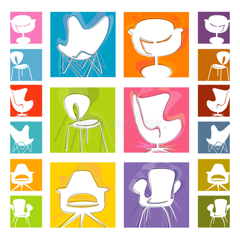 Mod Chair Icons (Vector) Royalty Free Stock Photos