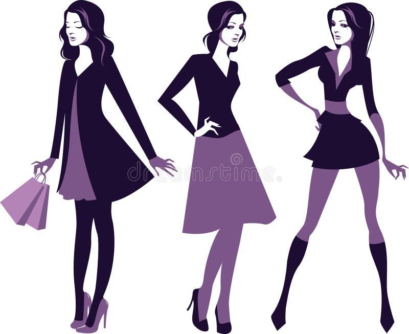 Mod dziewczyn sylwetki ilustracja wektor