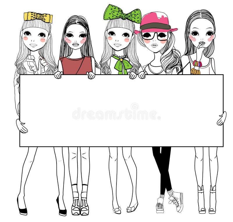 Mod dziewczyny z sztandarem royalty ilustracja