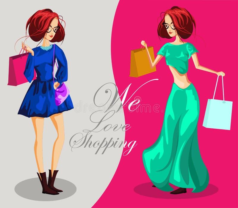 Mod dziewczyny Z torba na zakupy Kochamy zakupy sztandar, mody dziewczyny postać z kreskówki royalty ilustracja