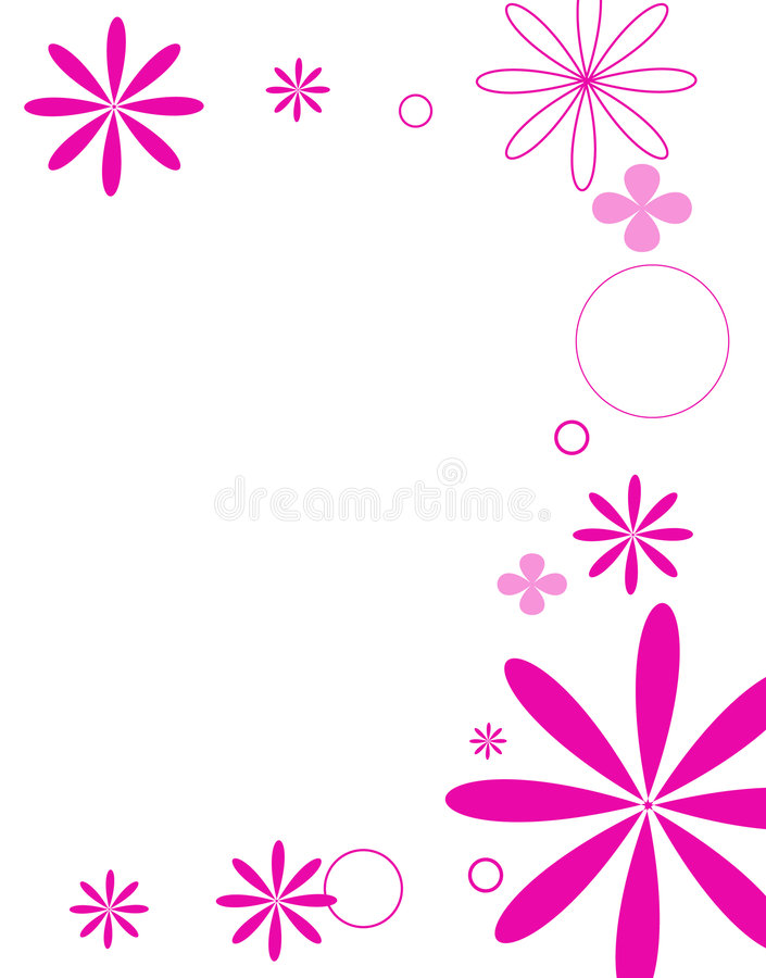 Mod flowers hot pink stock illustration