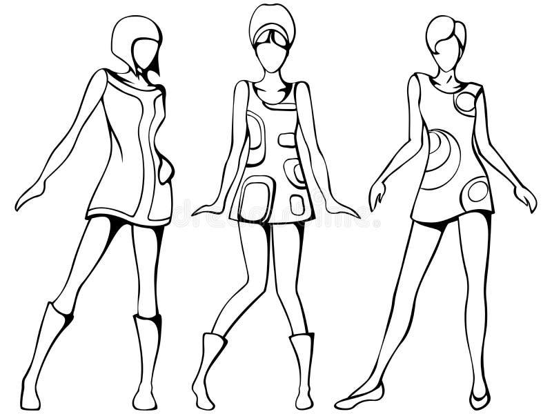 Mod girls sketch stock illustration