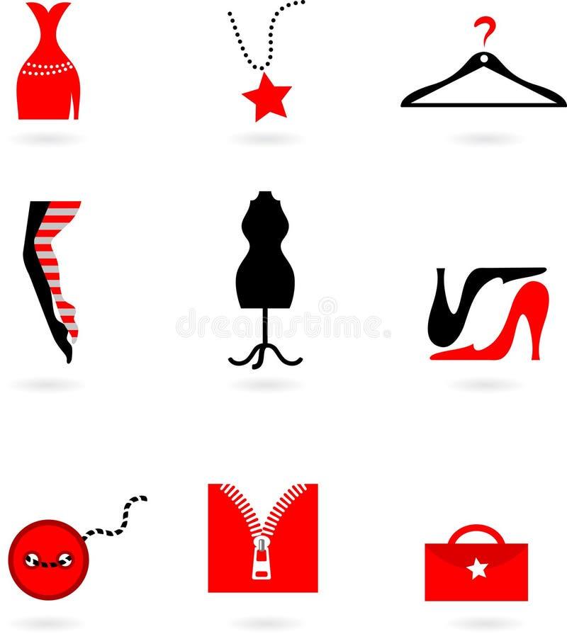 Mod i zakupy ikony royalty ilustracja