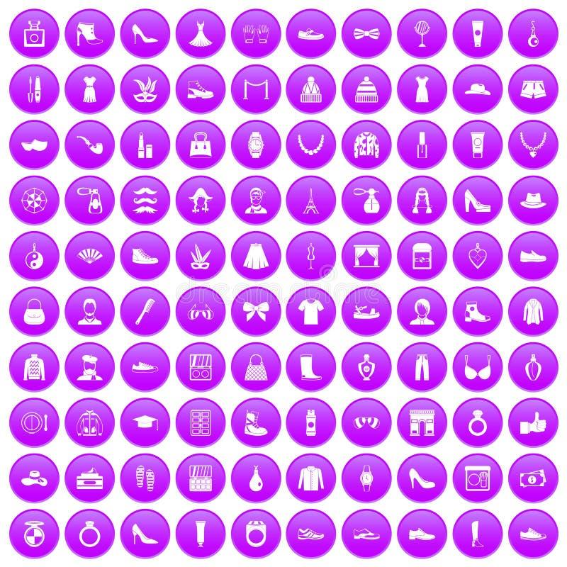 100 mod ikony ustawiających purpur royalty ilustracja