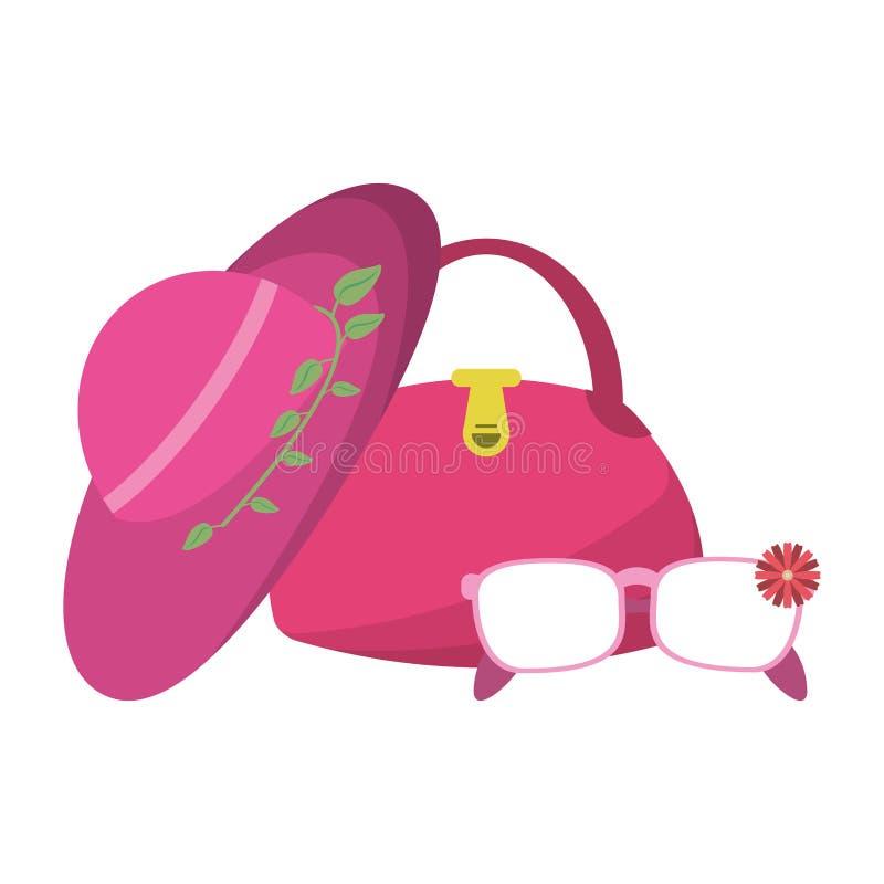 Mod kobiet brzęczenia z torbą i okularami przeciwsłonecznymi ilustracji