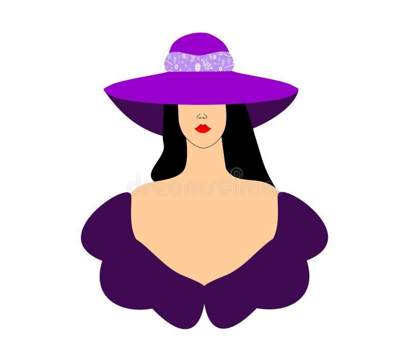 Download Mod Kobiet Dziewczyna W Purpurowym Kapeluszu Ilustracja Wektor - Ilustracja złożonej z moda, femaleness: 53784795