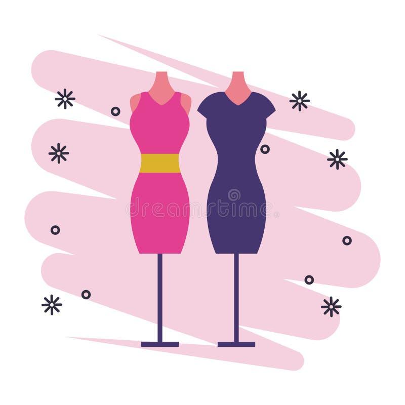 Mod kobiet suknia na mannequins royalty ilustracja