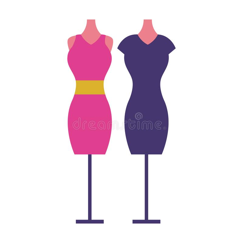 Mod kobiet suknia na mannequins ilustracji