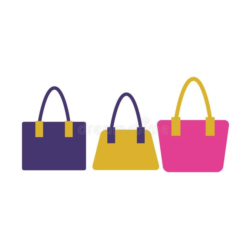 Mod kobiet torby odizolowywać royalty ilustracja