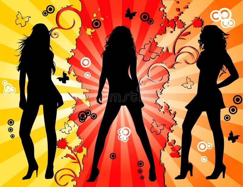mod kwieciste kobiety royalty ilustracja