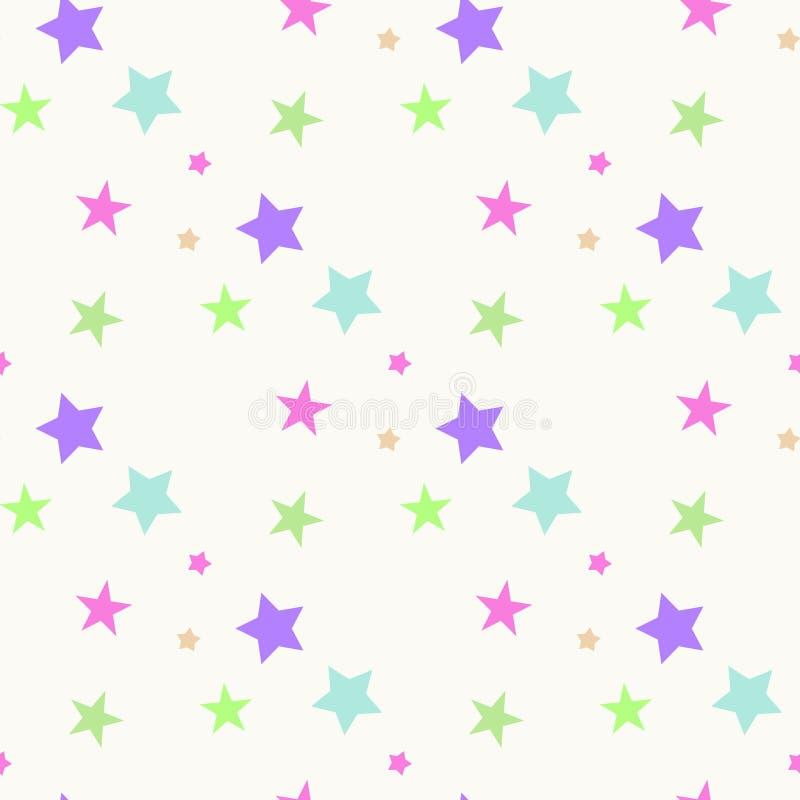 Mod?le abstrait sans couture avec les ?toiles pointues roses et bleues sur le fond blanc Illustration de vecteur Feux d'artifice  illustration libre de droits