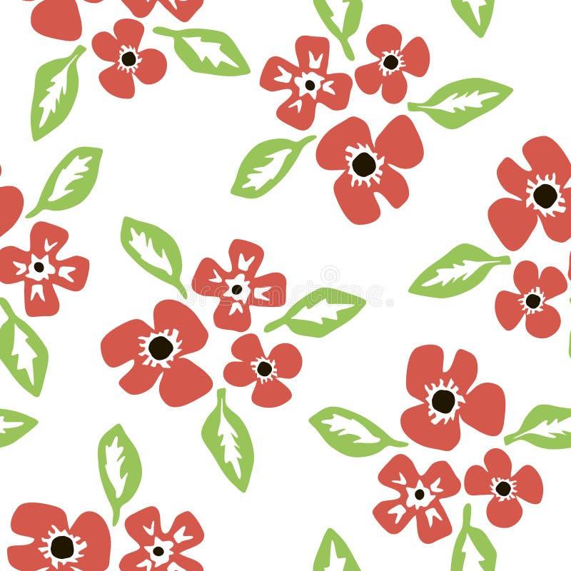 Mod?le avec des fleurs et des feuilles dans le style scandinave illustration stock