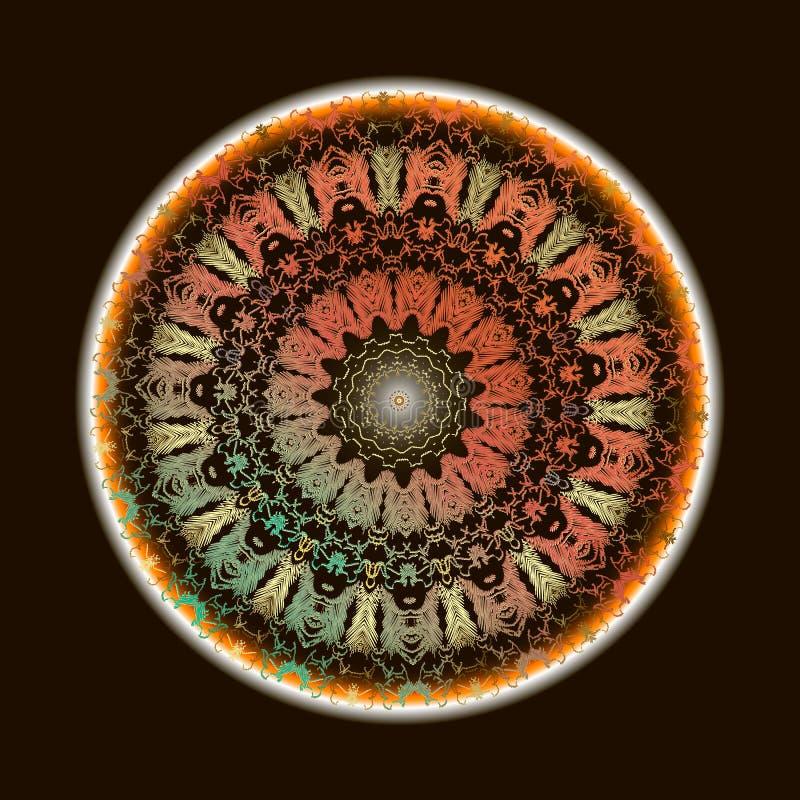 Mod?le baroque de mandala de broderie Ornement rond floral de tapisserie color?e de vecteur Texture grunge de dentelle Brodé piqu illustration de vecteur