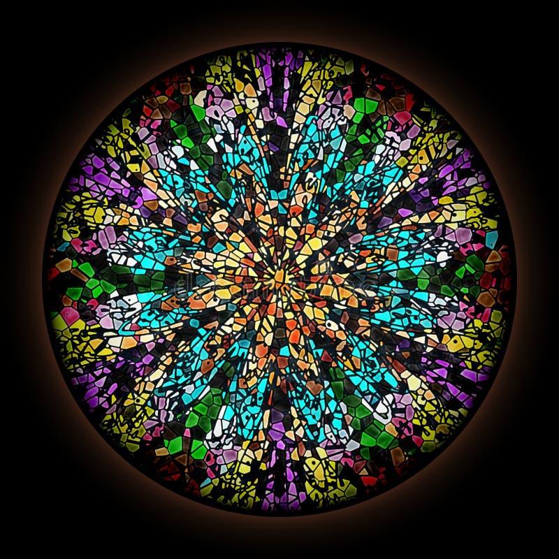 Mod?le color? dans le style de la fen?tre en verre teint? gothique avec le cadre rond Ornement floral multicolore illustration de vecteur