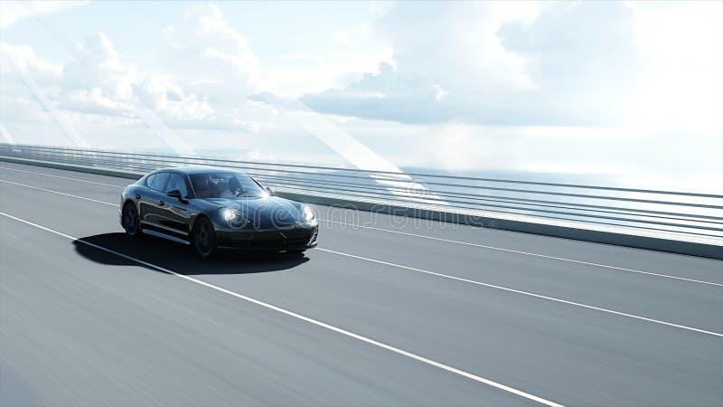 mod?le 3d de voiture de sport noire sur le pont Entra?nement tr?s rapide rendu 3d illustration libre de droits