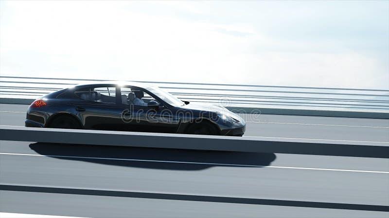 mod?le 3d de voiture de sport noire sur le pont Entra?nement tr?s rapide rendu 3d illustration stock