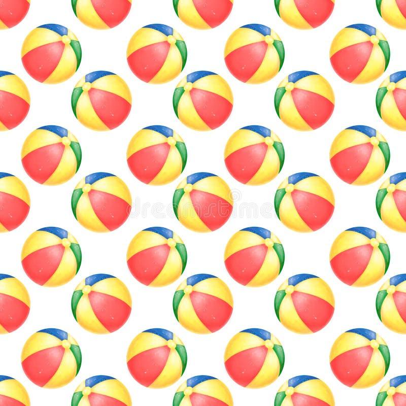 Mod?le de beachball d'aquarelle d'?t? avec du ballon de plage Boule de jouet partie de plage Joie de piscine ?t? Clipart (images  illustration stock