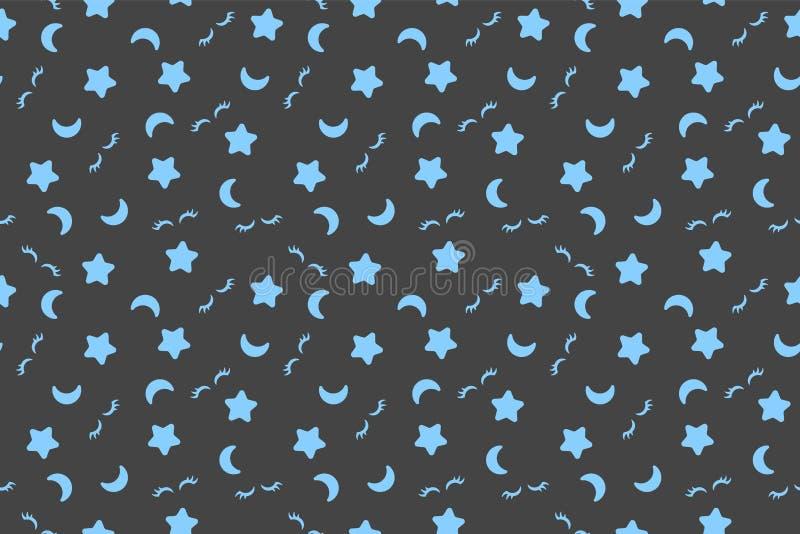 Mod?le de bonne nuit Copie sans couture Fond gris Illustration de vecteur La lune bleue, tient le premier rôle la copie de textil illustration libre de droits