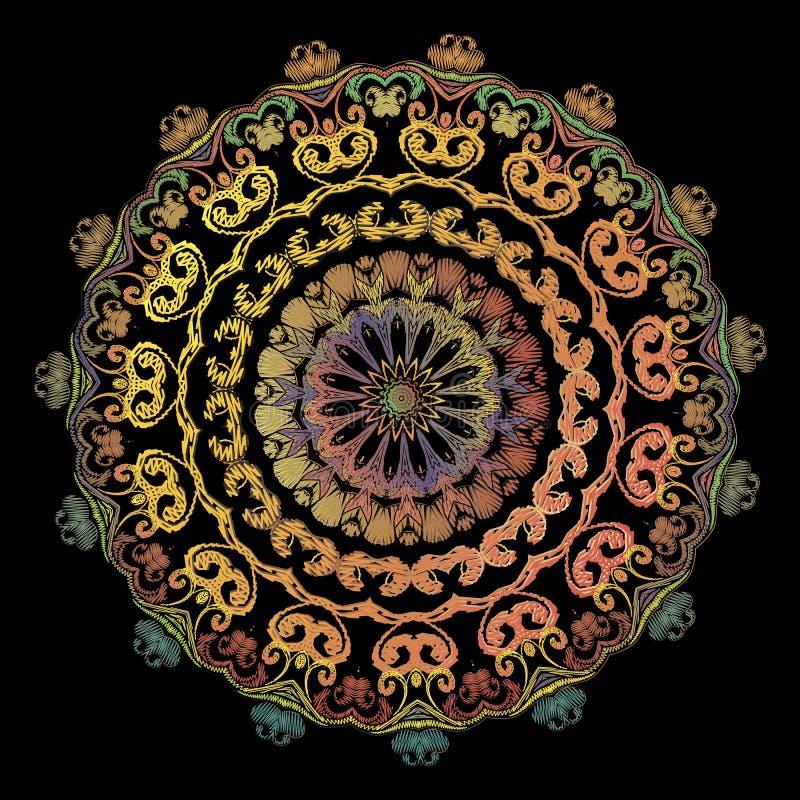 Mod?le de mandala de broderie de Paisley Ornement rond floral de tapisserie color?e de vecteur Texture grunge Fleurs brod?es de P illustration libre de droits