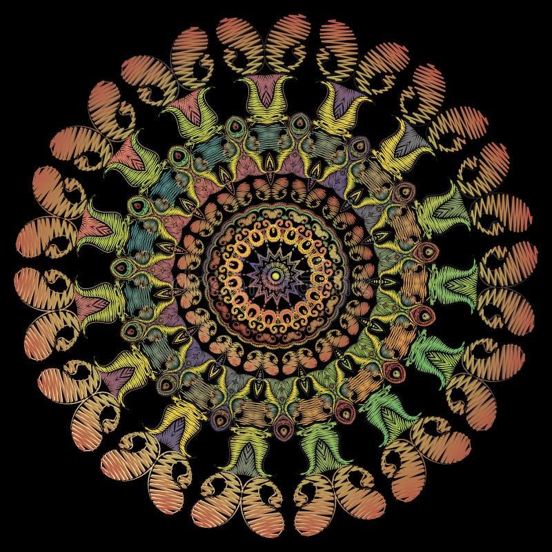 Mod?le de mandala de broderie de Paisley Ornement rond floral de tapisserie color?e de vecteur Texture grunge Fleurs brod?es de P illustration stock