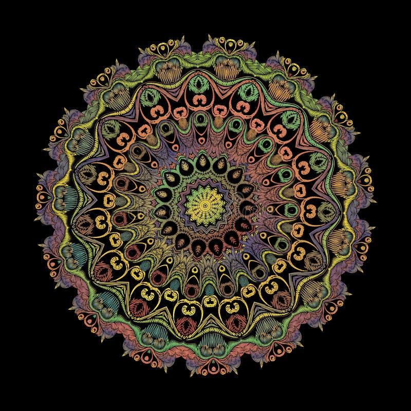 Mod?le de mandala d'arabesque de broderie Ornement floral de Paisley de rond de tapisserie color?e de vecteur Texture grunge Fleu illustration libre de droits