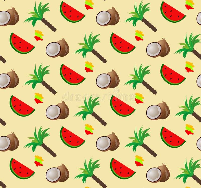 Mod?le de noix de coco Modèle sans couture tropical avec des palmettes et des fruits de noix de coco Illustration de vecteur illustration de vecteur