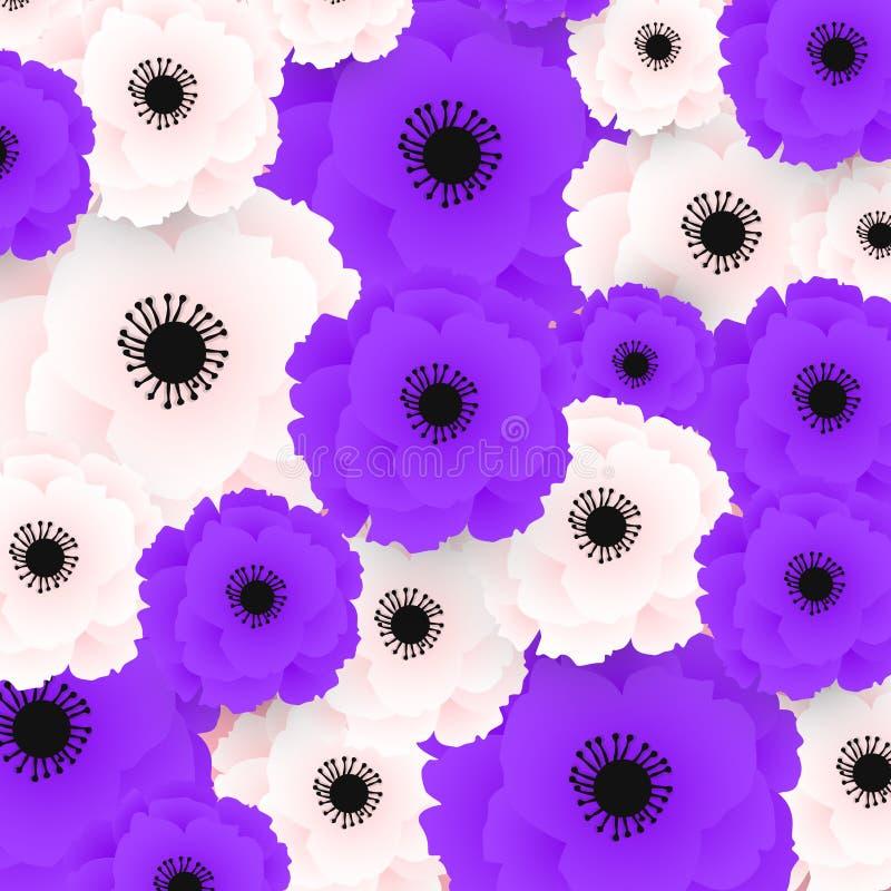 Mod?le de pavot Pavots rose-clair et pourpres sur le fond blanc Peut ?tre employ? pour le textile, les papiers peints, les copies illustration libre de droits