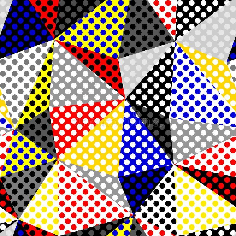 Mod?le de point classique de polka dans un style de collage de patchwork illustration stock