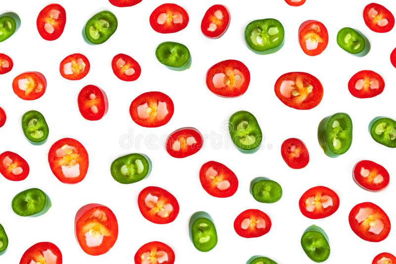 Mod?le de poivre de piment rouge Tranches de poivre de Cayenne d'isolement sur le fond blanc images libres de droits
