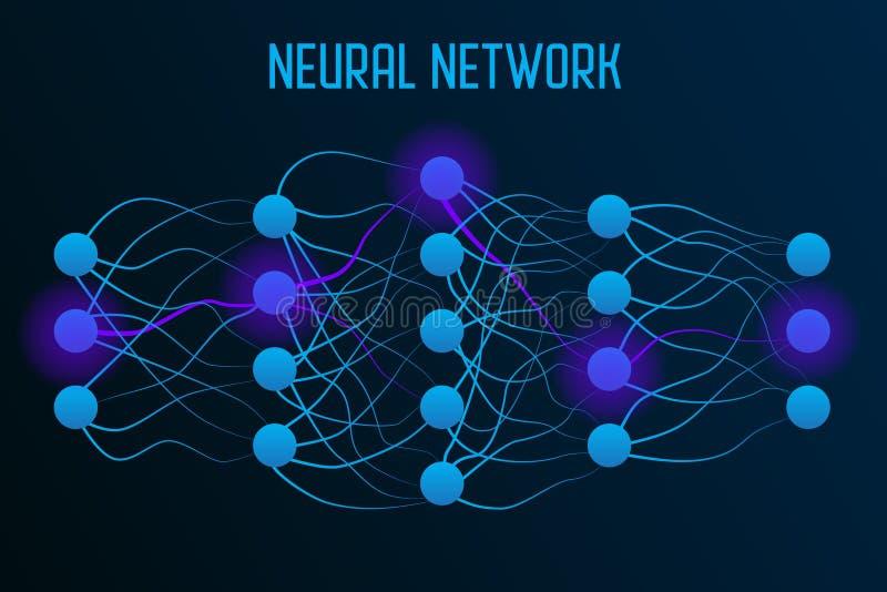 Mod?le de r?seau neurologique avec de vraies synapses entre les neurones illustration stock