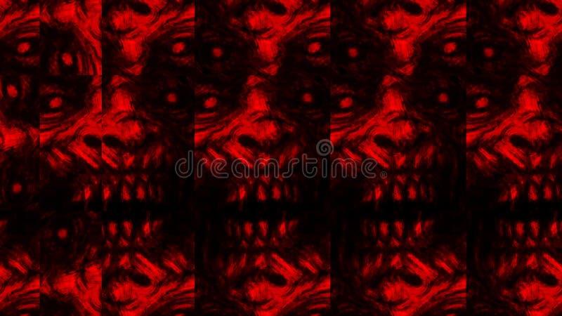 Mod?le effrayant de visage de zombi sur le fond noir illustration de vecteur