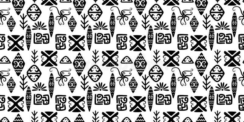 Mod?le ethnique avec le Maya africain azt?que ? la mode de symbole d'?l?ments d'abr?g? sur tir? par la main sans couture fond cul illustration de vecteur