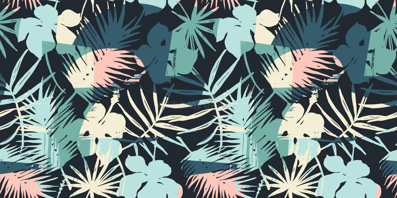 Mod?le exotique sans couture avec les plantes tropicales et le fond artistique illustration de vecteur