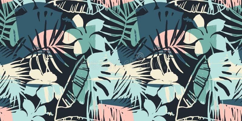 Mod?le exotique sans couture avec les plantes tropicales et le fond artistique illustration stock