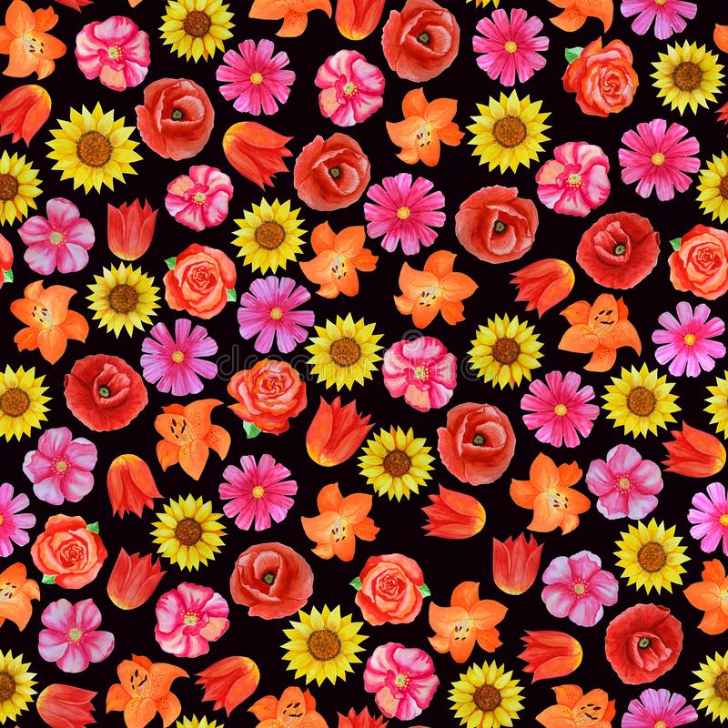 Mod?le floral sans couture sur le fond noir Diff?rentes fleurs lumineuses illustration stock