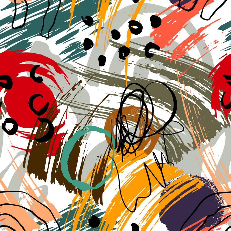 Mod?le g?om?trique abstrait avec les lignes onduleuses Griffonnage backgrounded Fond sans joint de vecteur illustration libre de droits