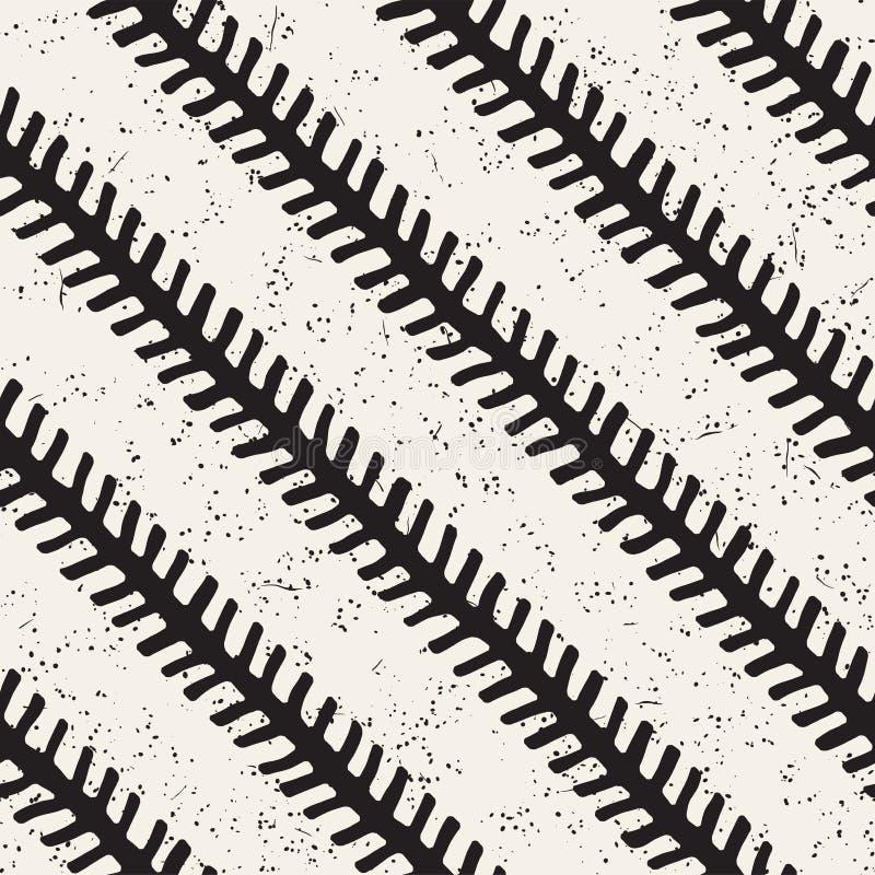 Mod?le g?om?trique d'encre simple Fond noir et blanc monochrome de courses Lignes diagonales d'encre tirée par la main illustration de vecteur
